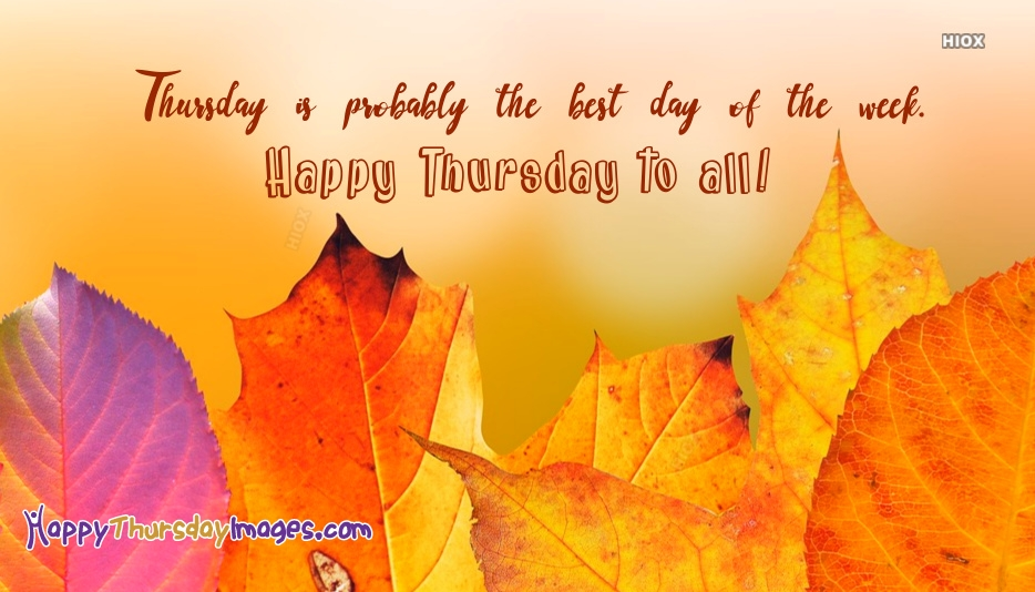Thursday is Probably The Best Day Of The Week. Happy Thursday To All!